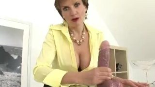 Hot Granny Playing with Big Dildo Jerking Encouragement